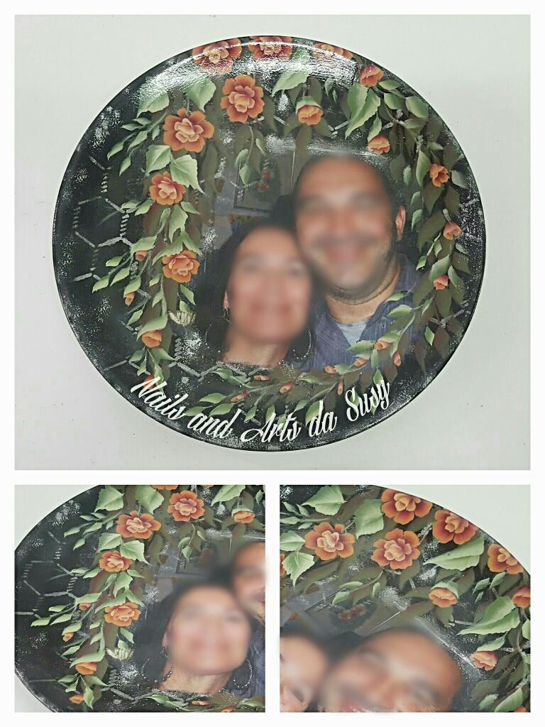 Piatto in ceramica con foto dipinto a mano