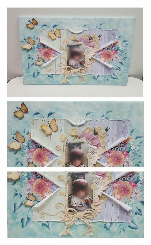 Tela con foto + Decorazione fatta a mano e Decoupage