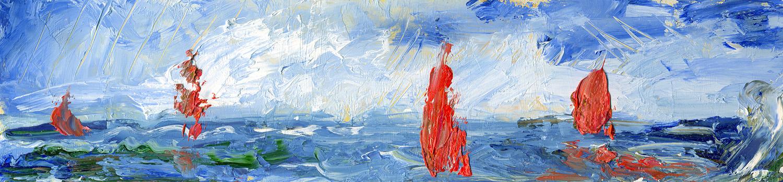 Татьяна Казакова. Паруса. 2007 год. Оргалит, масло. 7х29 см. Цена - 2200 руб.