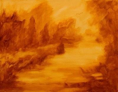 """Jan Blencowe, одноцветная неоднородная имприматура картины """"Болотный пейзаж"""""""