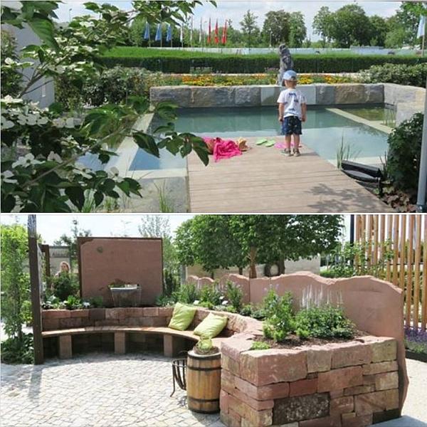Was möchten Sie sehen: Badeteich mit Wasserpflanzen oder geschwungener Sitzplatz aus Buntsandstein?