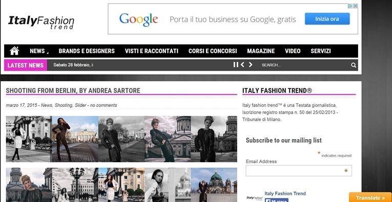 PUBLISHED ON ITALIA FASHION TREND MAGAZINE