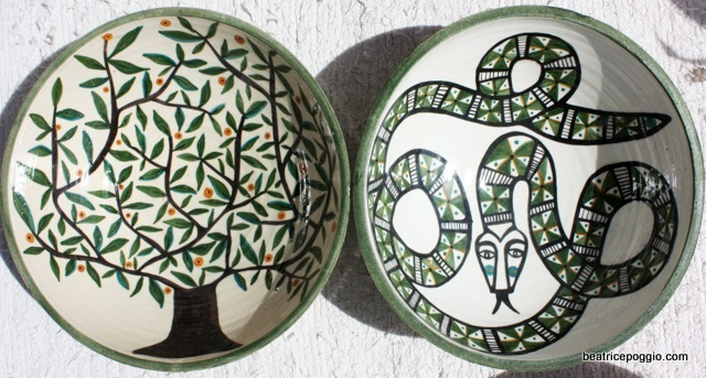 Handmade and handpainted ceramic bowls.