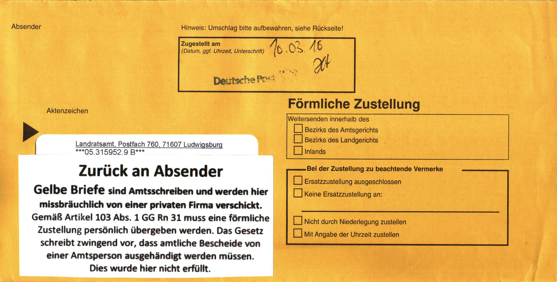Gelber Brief Illegale Zustellung
