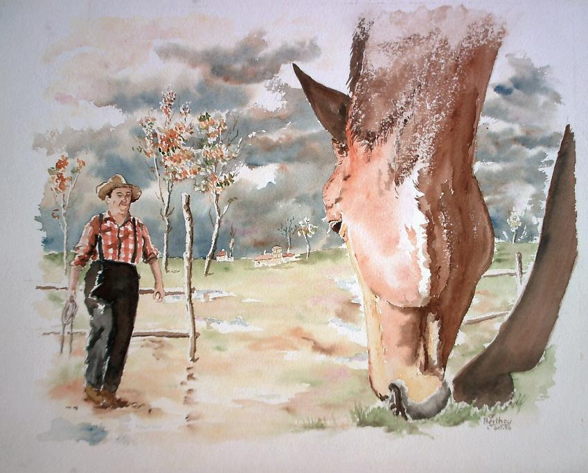 Paysan et cheval
