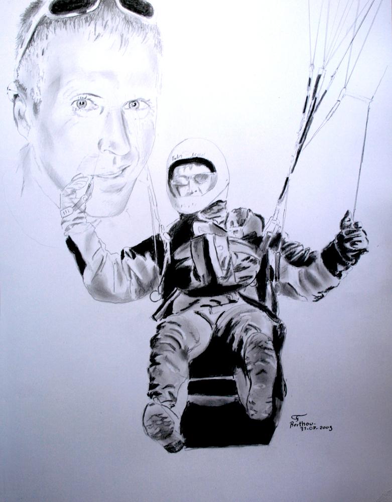 Fusain et crayon- parapentiste, Michel