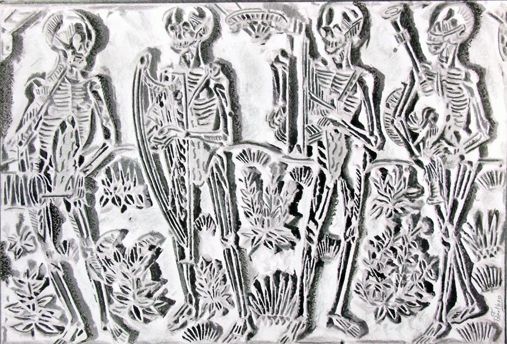 Dessin ,crayon et ancre de François Berthou , page 6: Les danses macabres
