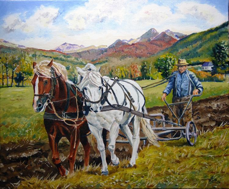 Labour Vallée de Mandaille (huile sur toile 46 cm x 38 cm)