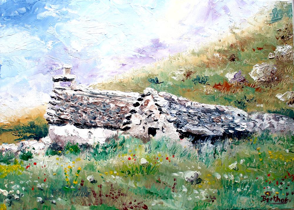 Buron sous le Puy mary: huile sur toile: 33 cm x 27 cm