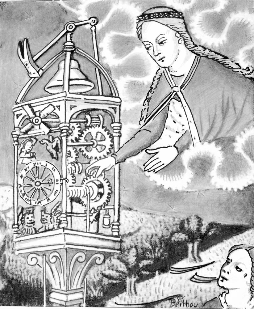 Dessin de françois Berthou, Ancre et crayon, page 16:  Histoire des cloches de Saint-Flour