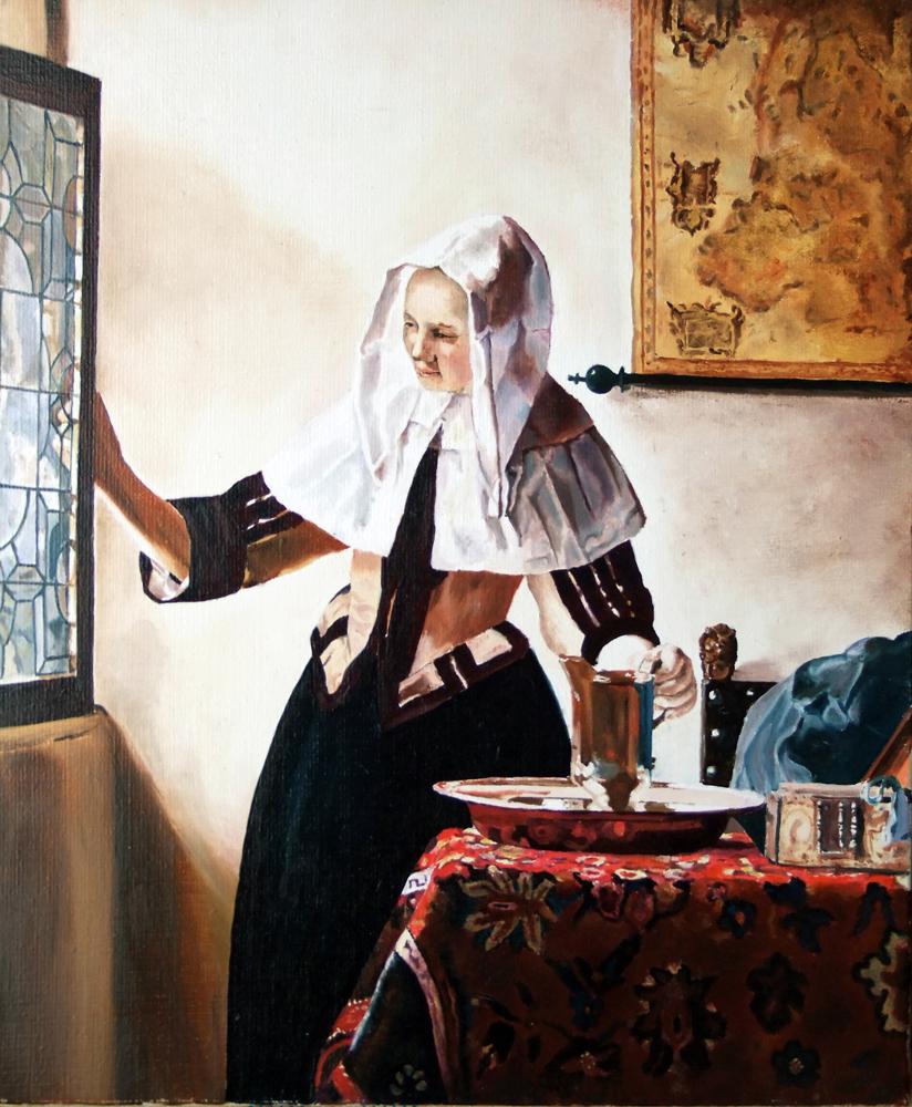 Vermeer- jeune femme a l'aiguière: 46 cm x 38 cm