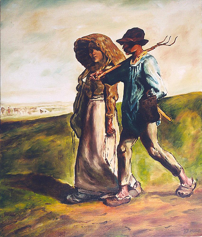 Jean François Millet (départ pour le travail) 55 cm x 46 cm