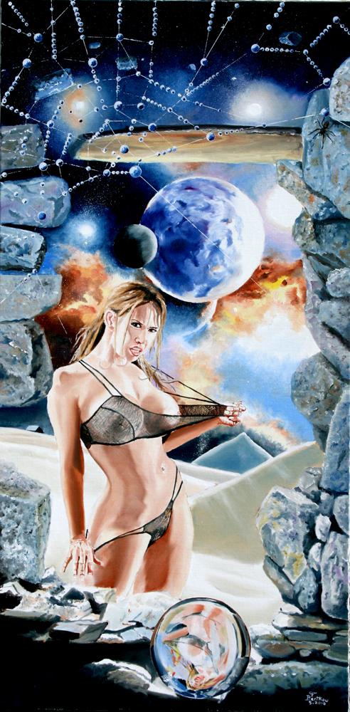 Cosmos-huile sur toile: 100 cm x 50 cm