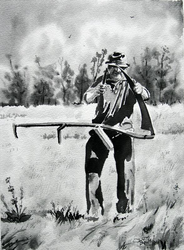 LAVIS a l'aquarelle: affutage de la faux