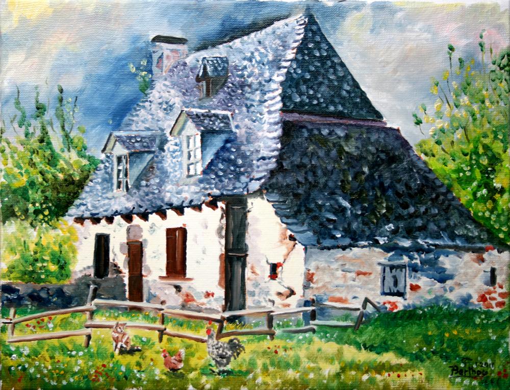 Maison auvergnate, huile sur toile: 41 cm x 33 cm