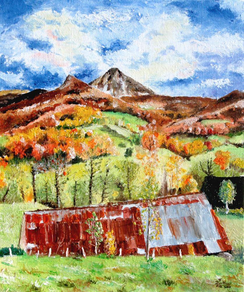 Puy griou automne, huile sur toile: 41 cm x 27 cm