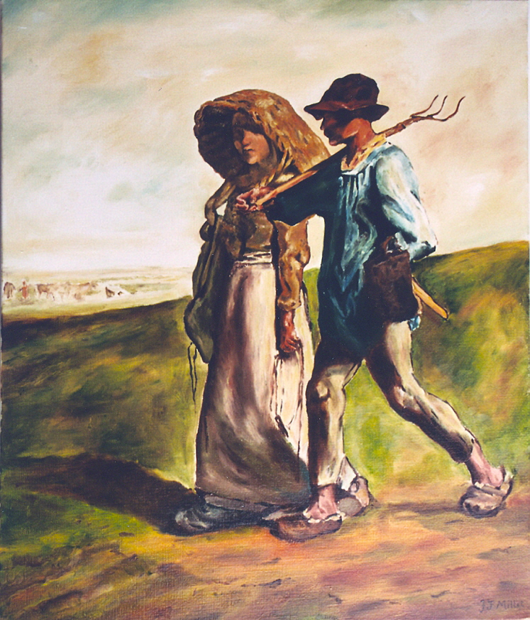 copie: Jean François MILLET, départ pour le travail: 55 cm x 46 cm