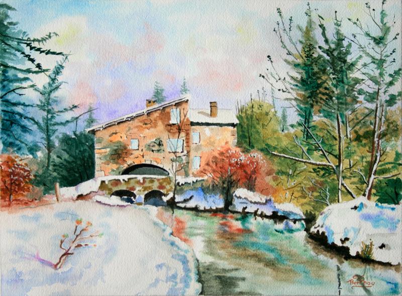 Moulin de caillac automne et neige