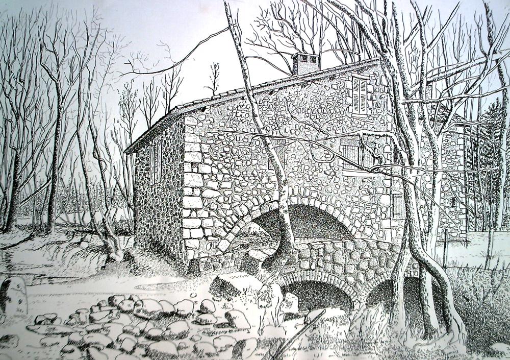 Encre et crayon- Moulin de Caillac
