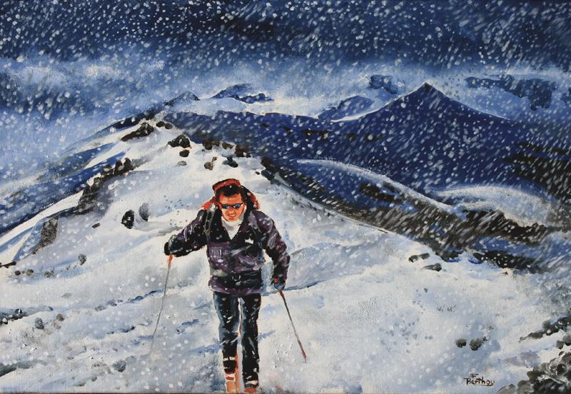 Puy Mary: tourmente de neige au Peyre Arse (autoportrait)