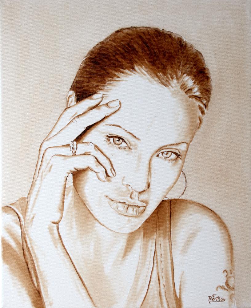Angélina Jolie, monochrome sur toile: 46 cm x 38 cm