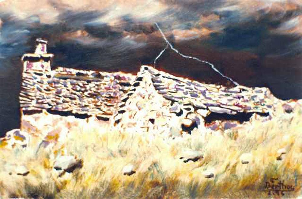 Buron sous le Puy Mary, huile sur toile: 41 cm x 33 cm