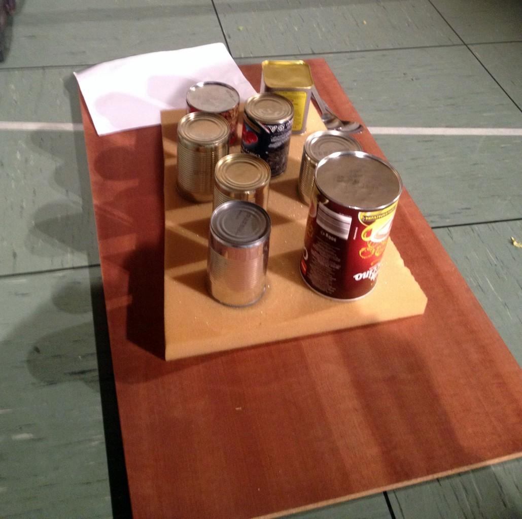 Ein Schlagzeug aus Blechdosen - richtig vielseitig und vorne noch ein Reißpapier, das beim Reissen nicht kaputt geht :-))