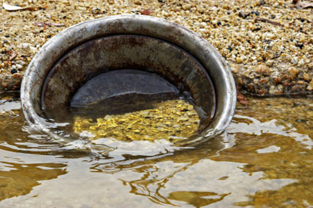 Pépites d'or dans une batée, région Beauce / Appalaches, Québec, Canada