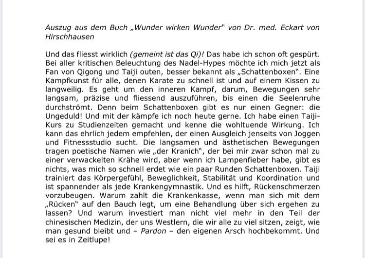 Auszug Buch Dr. Eckhard von Hirschausen