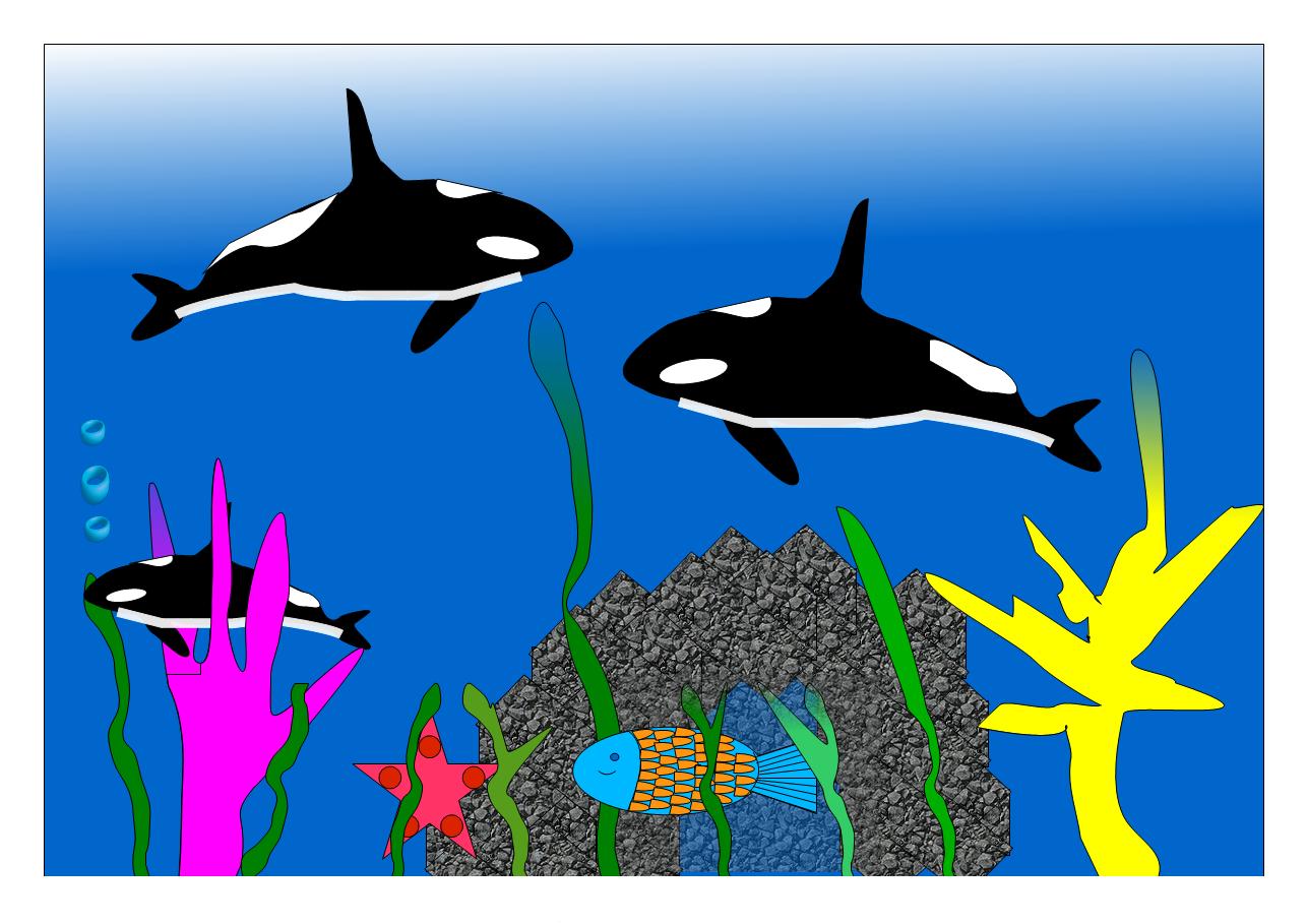 Orkas im Ozean von Kevin