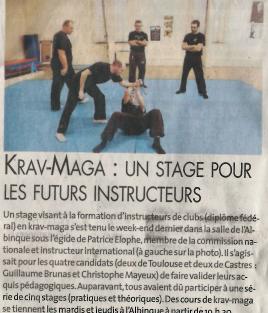 STAGE INSTRUCTEURS FORMATION DIF KRAV-MAGA Castres février 2015