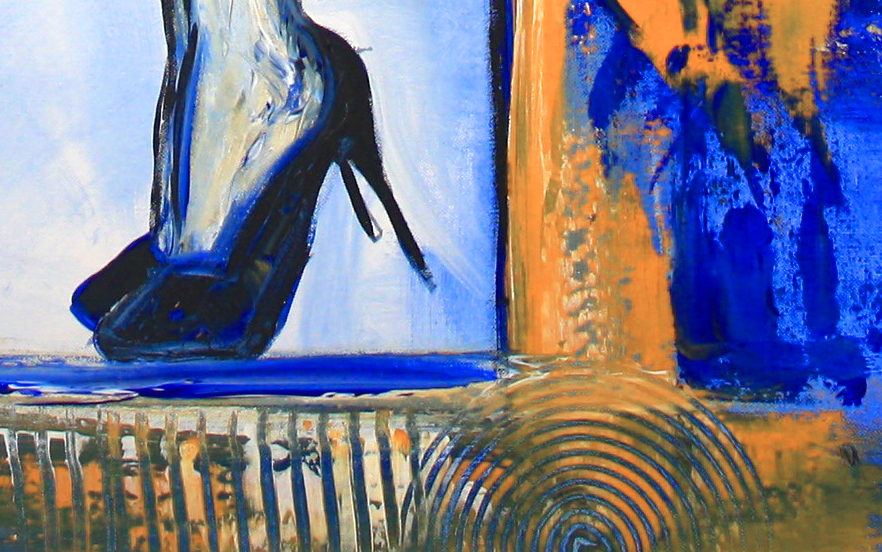 Nix los - Frau mit Sektglas - Moderne Malerei  und Wandbild aus