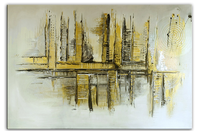 Goldenes Chaos abstraktes Acrylbild Kunstbild Silber Gold Acrylgemälde kaufen 80x120