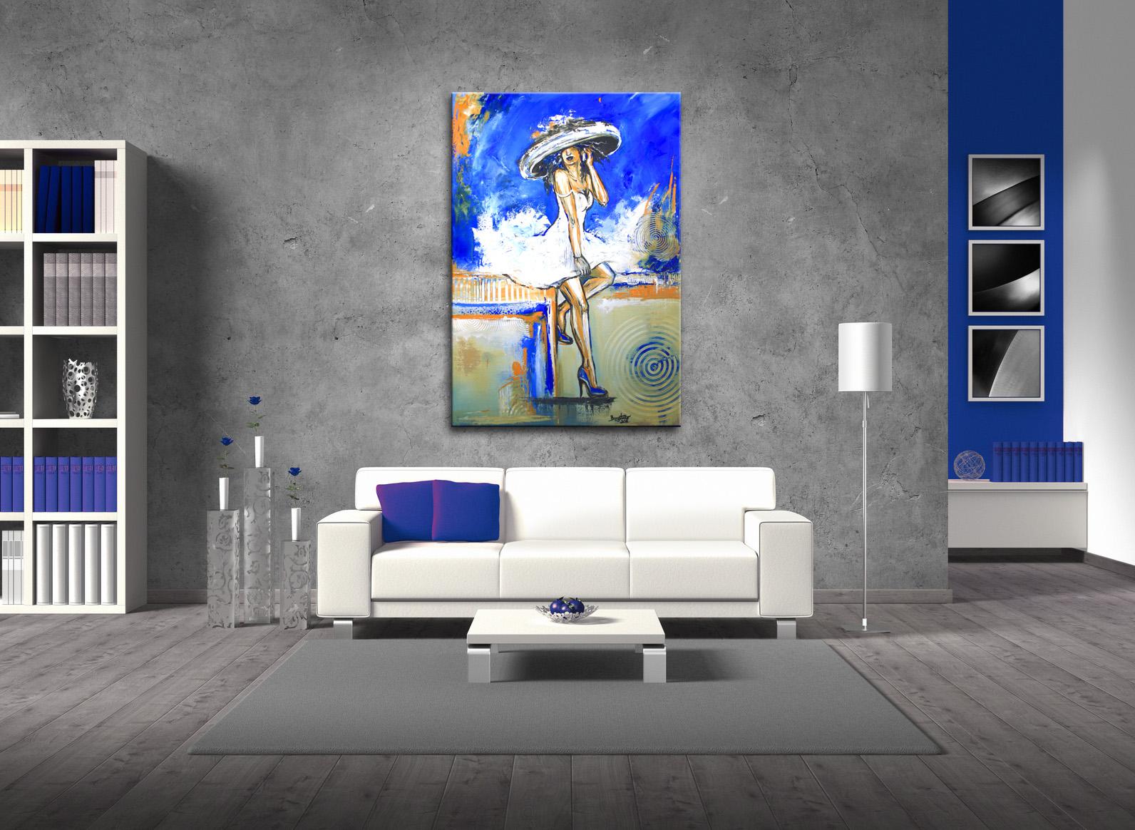 Telefonat - Frau mit Hut, Figürliche Malerei Blau Weiß, Gemälde und Künstler Bild wohn