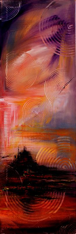 123 Verkaufte abstrakte Bilder - Mont Saint Michel gemalt - Sonnenuntergang