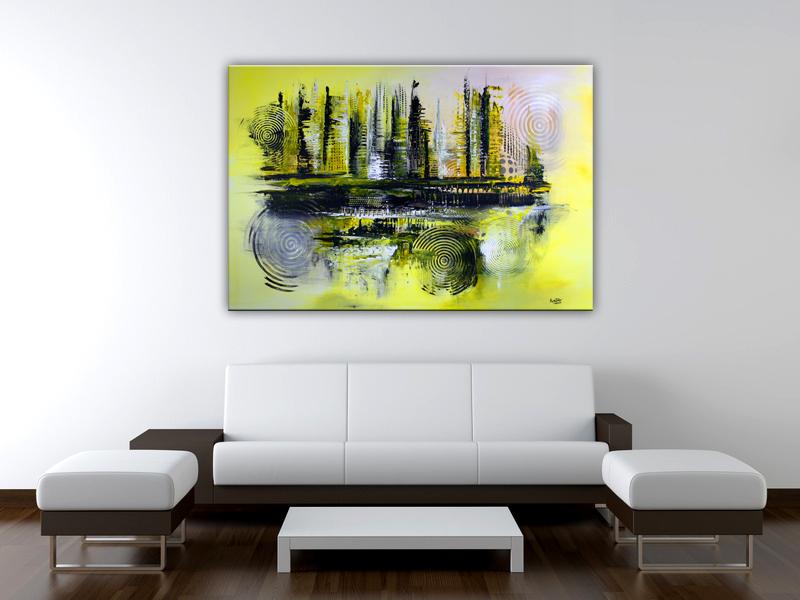 galaxy abstraktes wandbild gelb grau xxl burgstaller. Black Bedroom Furniture Sets. Home Design Ideas