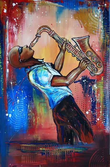 F 53 - Figuerliche Malerei - Figurative Wandbilder - Saxophonist 2