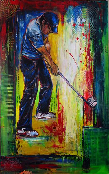 S 36 - Golfgemälde Golfer Gemälde - Golfspieler blau weiß
