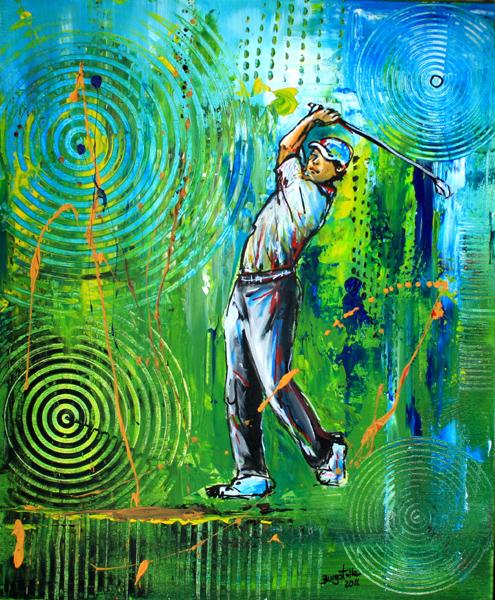 S 54 - Golfgemälde Golfer Gemälde - Golfspieler grünblau
