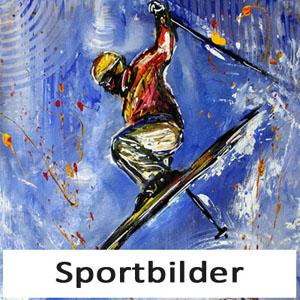 Handgemalte Skifahrer Fußballer Tänzer Bilder - Sportbilder Skiläufer Fußball Tanz Gemälde Malerei