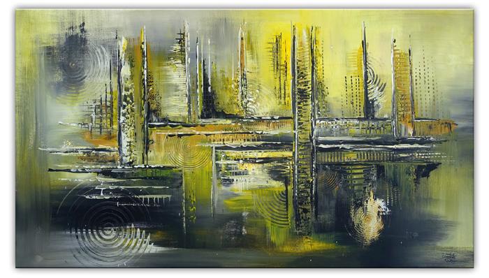 Sonnenstadt kuenstler bilder gemaelde abstrakt gelb grau acrylbilder abstrakt 80x140