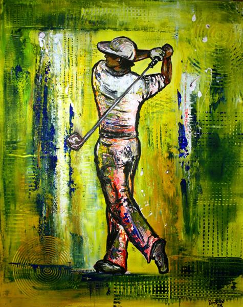 S 41 - Golfgemälde Golfer Gemälde - Golfspieler grün