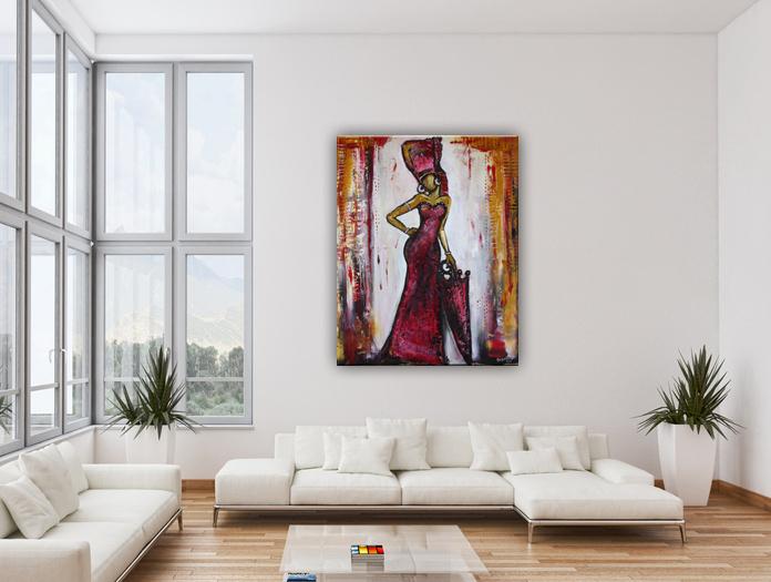 Wohnbeispiel - Gemälde 70x100x2 hochformat - Malerei Wandbild Figur Rote Spitze