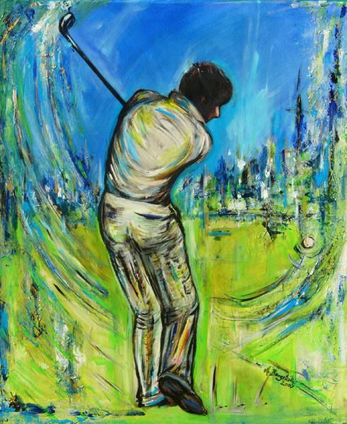 S 50 - Golfgemälde Golfer Gemälde - Golfspieler Bluegreen