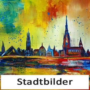 Handgemalte Stadtbilder kaufen - Städte Skyline Bilder Stadt Gemälde