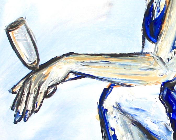 Nix los - Frau mit Sektglas - Moderne Malerei  und Wandbild blau aus