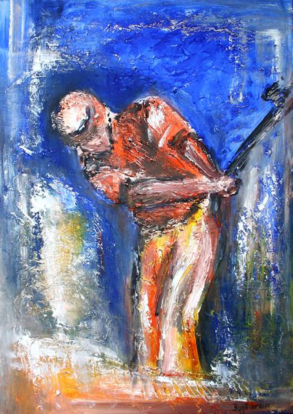 S 38 - Golfgemälde Golfer Gemälde - Golfspieler blau