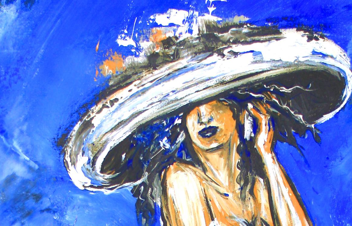 Telefonat - Frau mit Hut, Figürliche Malerei Blau aus
