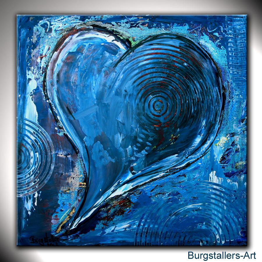 Herzbild klein blau - Herz Bilder abstrakt Gemälde ...