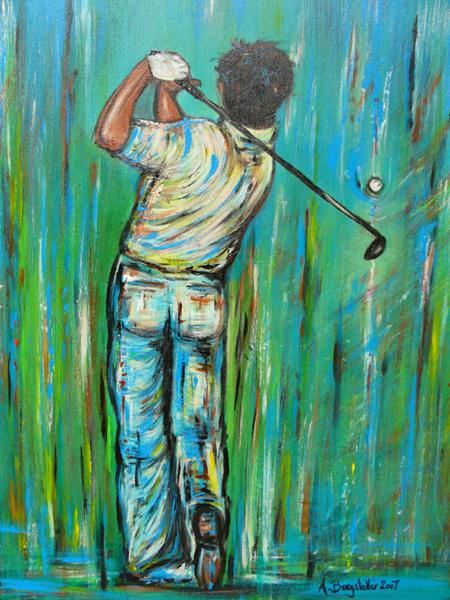 S 52 - Golfgemälde Golfer Gemälde - Golfspieler Backside